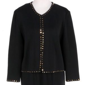 St. John Evening Black Gold Stud Cardigan